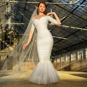 Pinup Couture Dresses | Pinup Girl Monica Mermaid Dress In White ...